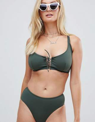 Pour Moi? Pour Moi lace up underwired bikini top in khaki C - G cup