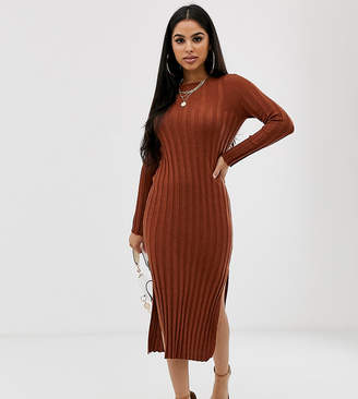 Asos DESIGN Petite fine knit ribbed midi dress in recycled blend
