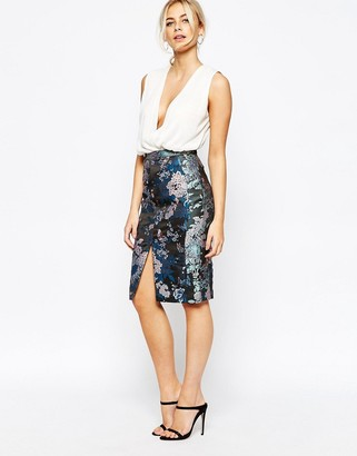 Oasis Butterfly Jacquard Pencil Skirt $73 thestylecure.com