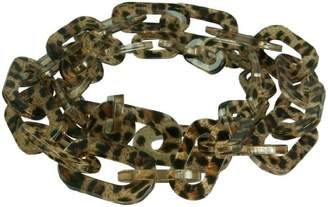Kenneth Jay Lane 36 INCH RESIN SQ LINK NECKLACE-ANIMAL PRINT- BLACK/BROWN