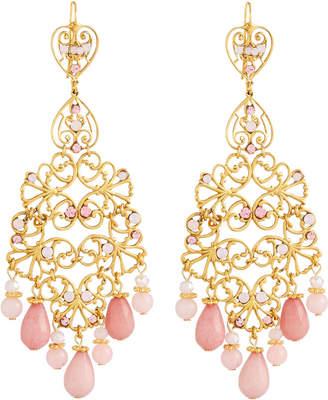 Jose & Maria Barrera Long Chandelier Earrings, Pink