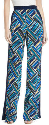 Talitha Collection Painted-Print Wide-Leg Pull-On Pants