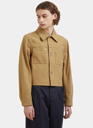 Maison Margiela Cropped Twill Work Jacket in Khaki