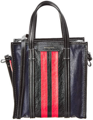 Balenciaga Bazar Small Striped Leather Shopper Tote