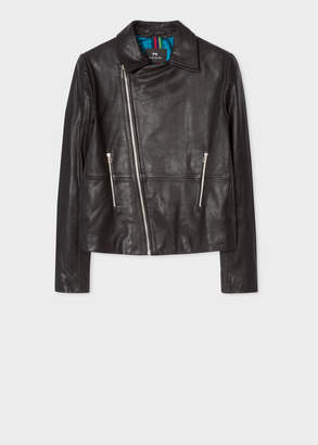 Paul Smith Women's Black Leather Asymmetric Zip Biker Jacket