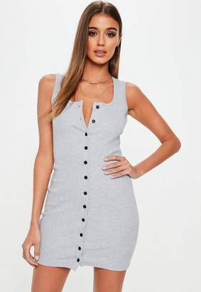 Missguided Gray Sleeveless Ribbed Button Mini Dress