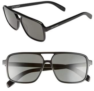 Saint Laurent 58mm Square Navigator Sunglasses
