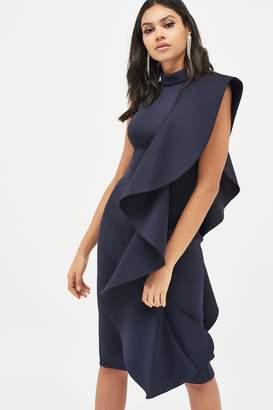 Lavish Alice Womens Extreme Frill Peplum Hem Scuba Midi Dress - Blue