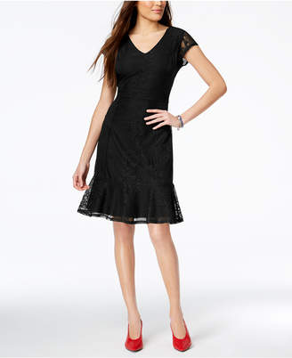 NY Collection Petite Lace Ruffle-Hem Dress