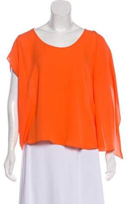Halston Silk Short Sleeve Blouse