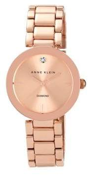 Anne Klein Ladies Rose Goldtone and Diamond Watch