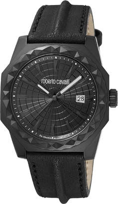 Roberto Cavalli By Franck Muller Men's 43mm Pyramid-Bezel Watch w/ Leather Strap, Black IP