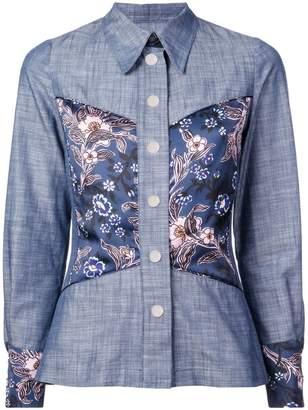 Jill Stuart floral panel chambray shirt