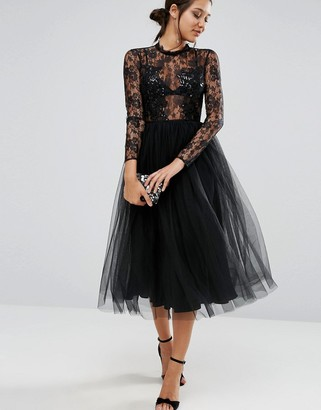 ASOS Lace and Embellished Bodice Dress with Mesh Midi Skirt $128 thestylecure.com