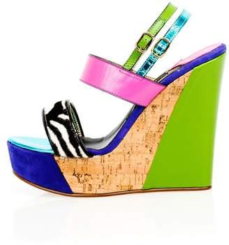 Kim Kwang - Sporty Wedge Sandals Zebra Detailing Green