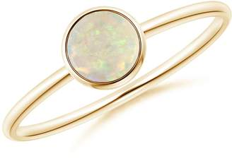 Angara.com Bezel Set Round Opal Stackable Ring in 14K Yellow Gold (5mm Opal)