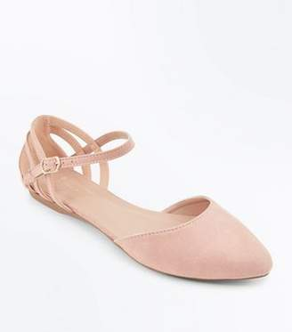 New Look Wide Fit Nude Suedette Caged Back Pumps