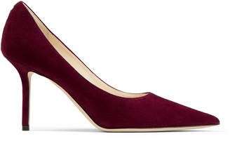 Jimmy Choo LOVE 85 Bordeaux Suede Pointed Toe Pumps with JC Button