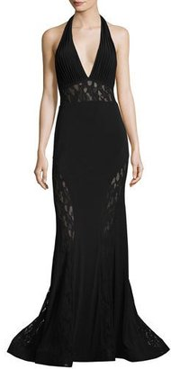 Jovani Plunging V-Neck Mermaid Gown w/ Lace Panels $495 thestylecure.com