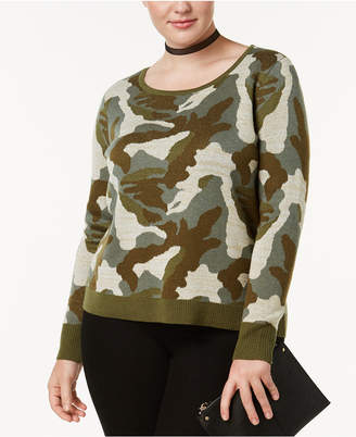 INC International Concepts I.n.c. Plus Size Metallic-Camouflage-Knit Sweater, Created at Macy's