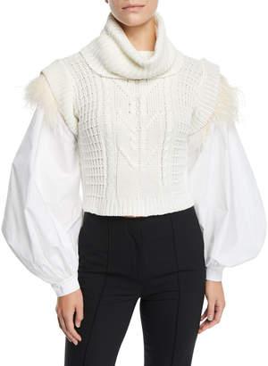 Johanna Ortiz Ostrich-Feather Trim Puff-Sleeve Turtleneck Sweater