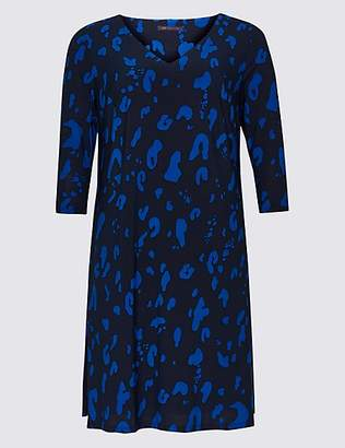 M&S Collection CURVE Printed 3/4 Sleeve Swing Dress