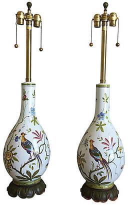 One Kings Lane Vintage Oversize Italian Bird Lamps - Set of 2 - C the Light Interiors