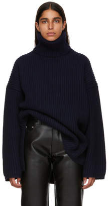 Acne Studios Navy Ribbed Turtleneck