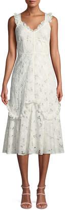 Rebecca Taylor Adriana Eyelet Lace-Up Midi Dress
