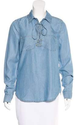 Paige Lace-Up Chambray Button-Up w/ Tags
