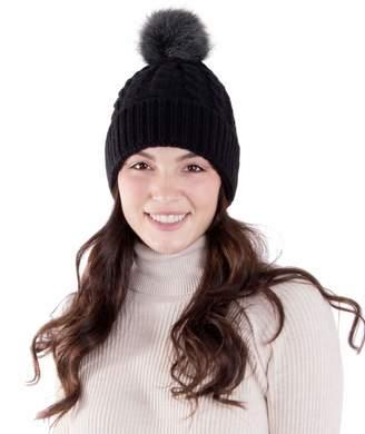 db9405cf720 AbbyLexi Women s Winter Chunky Knit Beanie Hat with Faux Fur Pom Pom
