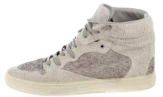 Balenciaga Distressed Suede High-Top Sneakers