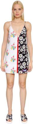 Au Jour Le Jour Floral Print Zip-Up Neoprene Dress