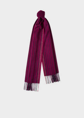 Paul Smith Men's Burgundy Two-Tone Stripe Lambswool And Cashmere Scarf