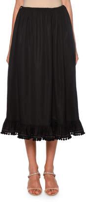 Miu Miu Pompom Poplin Midi Skirt