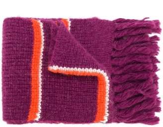 Ami Alexandre Mattiussi Fisherman Rib Bicolor Contrasted Stripes Scarf