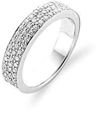 Ti Sento Milano Rhodium Plated Sterling Silver Ring with Cubic Zirconia Stones-1401ZI/56 - Size O