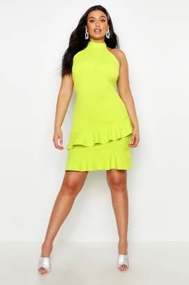 boohoo Plus Halter Neck Double Ruffle Mini Dress