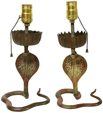 One Kings Lane Vintage Enameled Brass Cobra Lamps - Set of 2 - Rare and Worthy