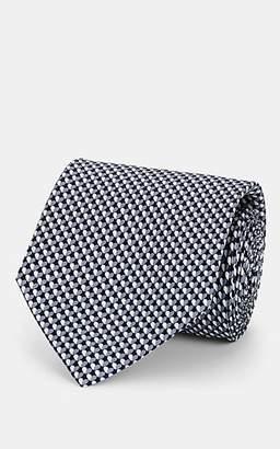 Salvatore Ferragamo Men's Heart-Print Silk Twill Necktie - Navy