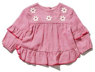 M&Co Floral embroidery frill gingham top