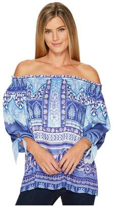 Hale Bob Precious Cargo Stretch Satin Woven Off Shoulder Top Women's Clothing