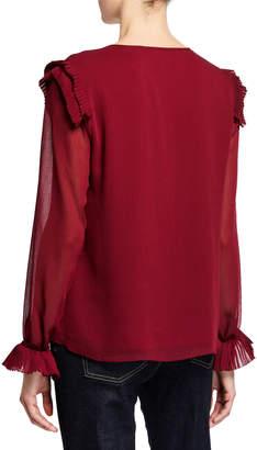 T Tahari Long-Sleeve V-Neck Ruffle Blouse