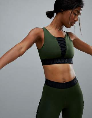 Ivy Park Active Lace Up Bra In Khaki