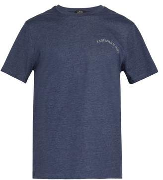 A.P.C. Print Cotton Blend T Shirt - Mens - Blue