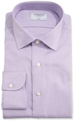 Lorenzo Uomo Men's Sharkskin Dress Shirt, Purple