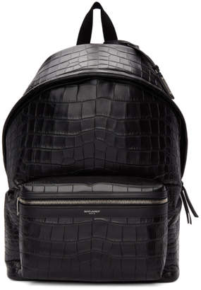 Saint Laurent Black Croc City Backpack