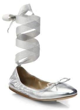 Saks Fifth Avenue Collection Collection Women's Metallic Leather Ankle-Wrap Ballet Flats - Silver - Size 6