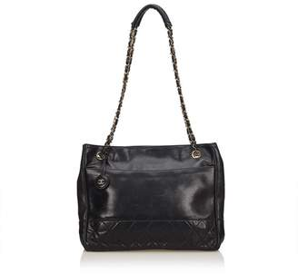 Chanel Vintage Lambskin Matelasse Chain Tote Bag
