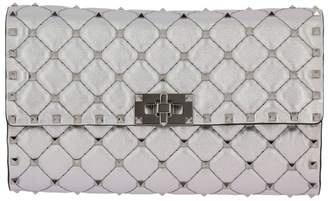 Valentino Garavani Clutch Rockstud Spike Small Bag In Laminated And Quilted Nappa Leather With Metal Studs And Shoulder Strap